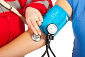 Close Up Of Checking Blood Pressure