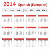 Calendar 2014 (Spain). European Spanish Calendar. Week starting on Monday