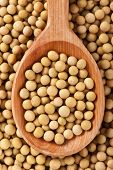 picture of soybeans  - Top view of handmade wooden spoon full of soybeans - JPG