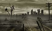 stock photo of polluted  - The illustration on the theme of the apocalypse - JPG