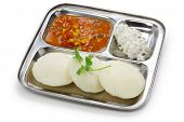 idli, sambar and coconut chutney, south indian breakfast on stainless steel plate