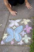 Chalk Drawing Of Butterflies On Sidewalk