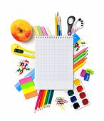 School Stationery With Notebook Copyspace