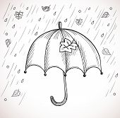 Sketch of an umbrella in the rain