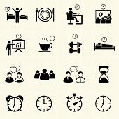stock photo of weekdays  - Man Daily Routine People icons set with texture background - JPG