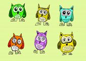 Cartoon animals and owls