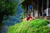 Portrait of a Gurung woman in the Himalayas, Nepal