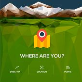 Flat location icon with pin pointer
