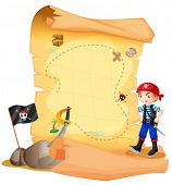 Illustration of a treasure map with a young pirate on a white background
