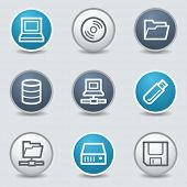 Drive storage web icons, circle blue buttons