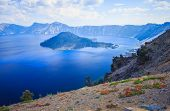 View Of Wizard Island In The Sapphire Blue Waters Of Crater Lake, Oregon