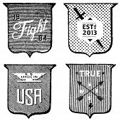 Vector set of vintage labels and shields. All pieces are separated. Easy to edit.