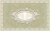 Invitation or frame or label with Floral background in olive