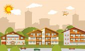 picture of suburban city  - vector illustration of suburban accommodation  - JPG