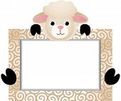 Cute Sheep With Bank Label
