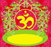 Om Aum Symbol On A Red Background
