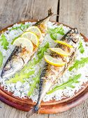 Grilled Mackerel With Basmati Rice And Fresh Arugula