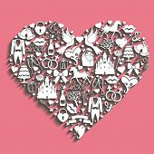 Hearts Composition Of Wedding Design.icons For Web And Mobile