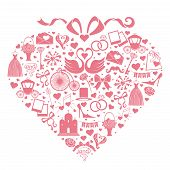 Wedding Design  Icons For Web And Mobile In Hearts Composition