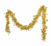 Christmas yellow tinsel with stars.