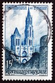 Postage Stamp France 1958 Senlis Cathedral, Oise