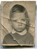 LODZ, POLAND, CIRCA 1950's: Vintage photo of boy