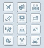 Airport services and objects gray icon-set