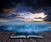 Book Concept Fantasy Skyscape Sunset Over Surreal Vortex Formation