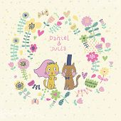 Funny cartoon wedding invitation. Romantic floral card with funny cats - groom and bride. Vector wallpaper made of flowers. Ideal for wedding cards and Save the Date invitations.