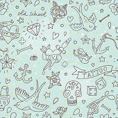 Cute tattoo concept seamless pattern. Tattoo elements: skull, knife, bird, heart, anchor and others