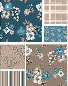 pic of taupe  - Floral vector seamless patterns - JPG