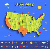 USA map infographic political map individual states blue green card paper 3D vector