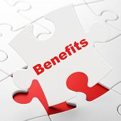 Business concept: Benefits on puzzle background
