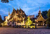 Buddhist temple at sunset