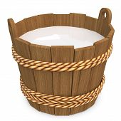 3D Wooden Bucket With Milk
