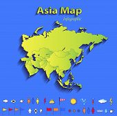 Asia map infographic political map individual states blue green card paper 3D raster