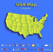 USA map infographic political map individual states blue green card paper 3D raster