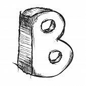 Sketchy Hand Drawn Letter B Isolated On White