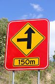 Concealed Road Warding sign 150m 2