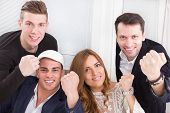 Successful Excited Team People Winning Showing Happiness With Clenched Fists