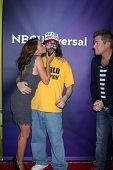 LAS VEGAS - APR 8:  Kari Wuhrer, Judah Friedlander at the NBCUniversal Summer Press Day at Huntingto