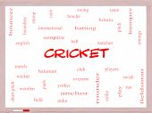 Cricket Word Cloud Concept On A Whiteboard