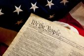 image of preamble  - The Preamble to the Constitution of the United states on an American flag - JPG