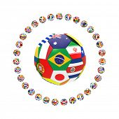 3D render of football with international country flags surrounded by group of 32 footballs on white background