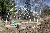 Building New Plastic Greenhouse Hothouse Construction
