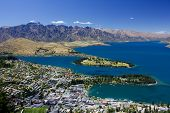 stock photo of jetties  - Aerial view of Queenstown and Lake Wakatipu - JPG