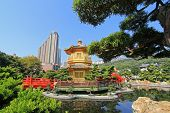 HONG KONG ISLAND, CHINA - JANUARY 2014 : Nan Lian Golden Pavilion of Absolute Perfection at Nan Lian