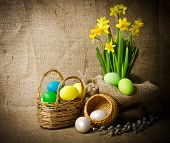 Colorful Easter Eggs In Brown Basket