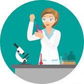 Affable chemist woman doing an experiment or test