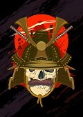 Design with skull wearing samurai helmet.